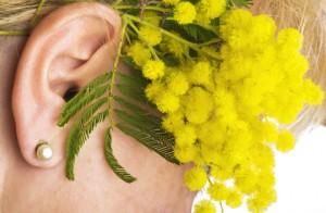 donna con mimose
